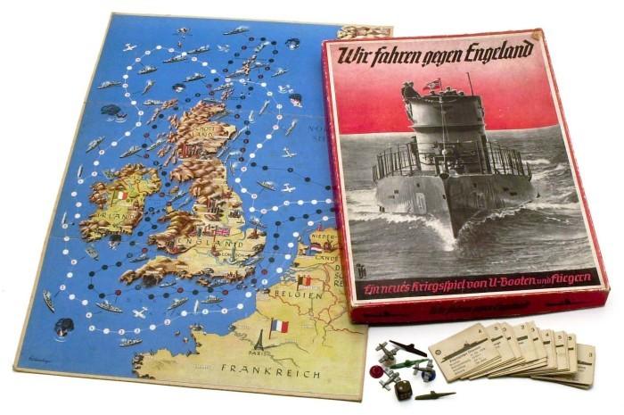 Игра Wir fahren gegen England («Мы идем на Англию»), в которой дети контролировали британскую береговую линию с помощью самолетов и подводных лодок, 1939 год. германия, настольные игры, пропаганда