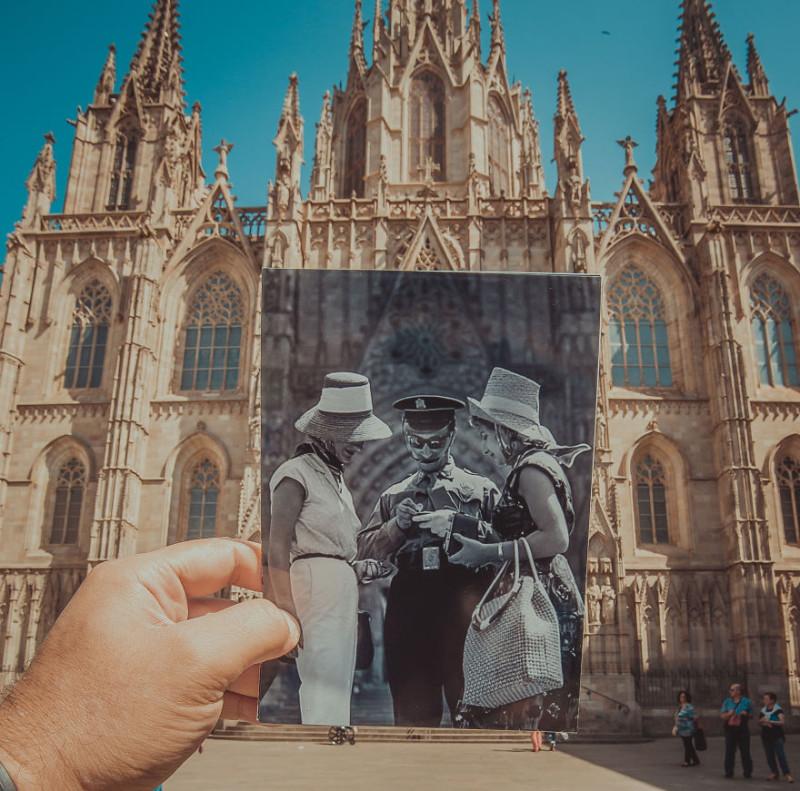 Окно в прошлое: житель Баку комбинирует старые фото с современными видами