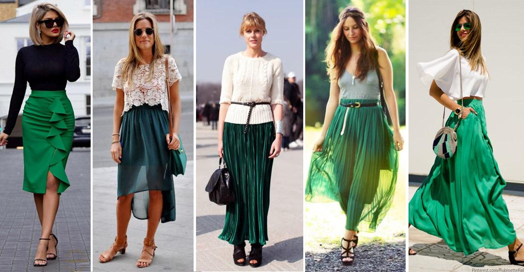 С чем носить зеленую юбку: 25 образов для всех времен года