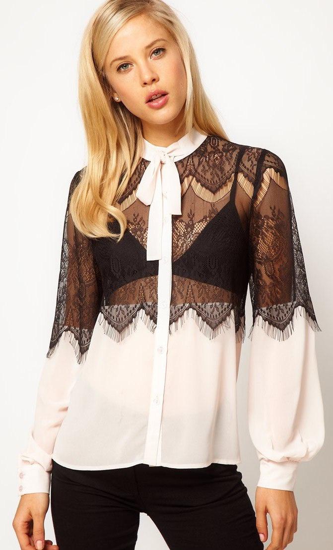 Блузки с кружевом фото