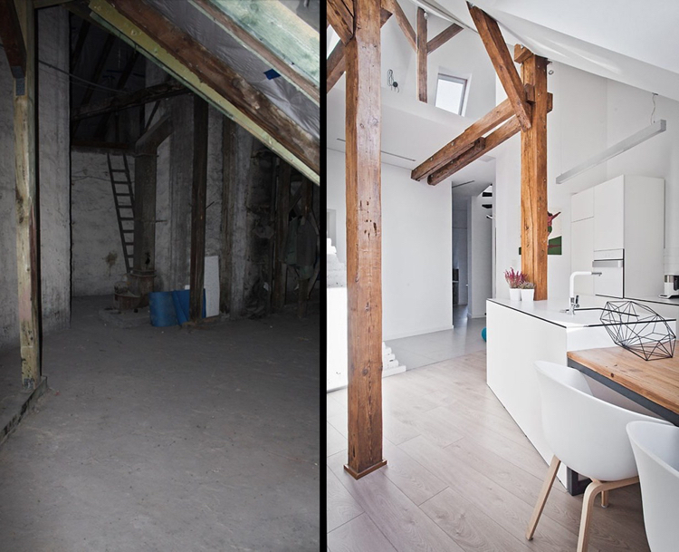 идея ремонта мансарды фото скандинавский стиль белый цвет деревянные балки