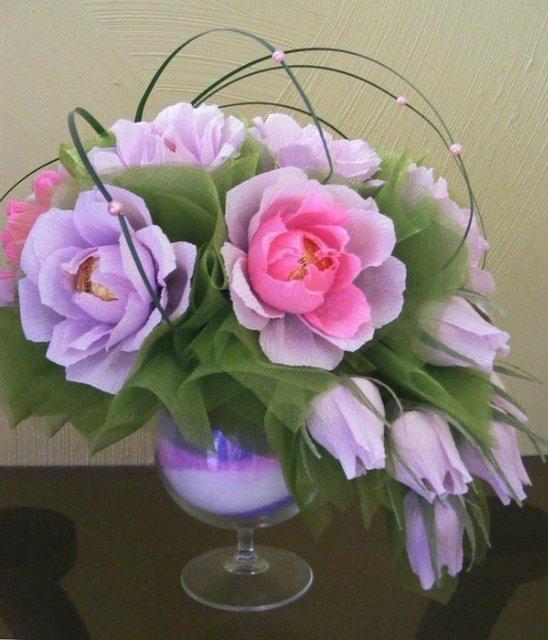 Фото мастер класс цветы из конфет