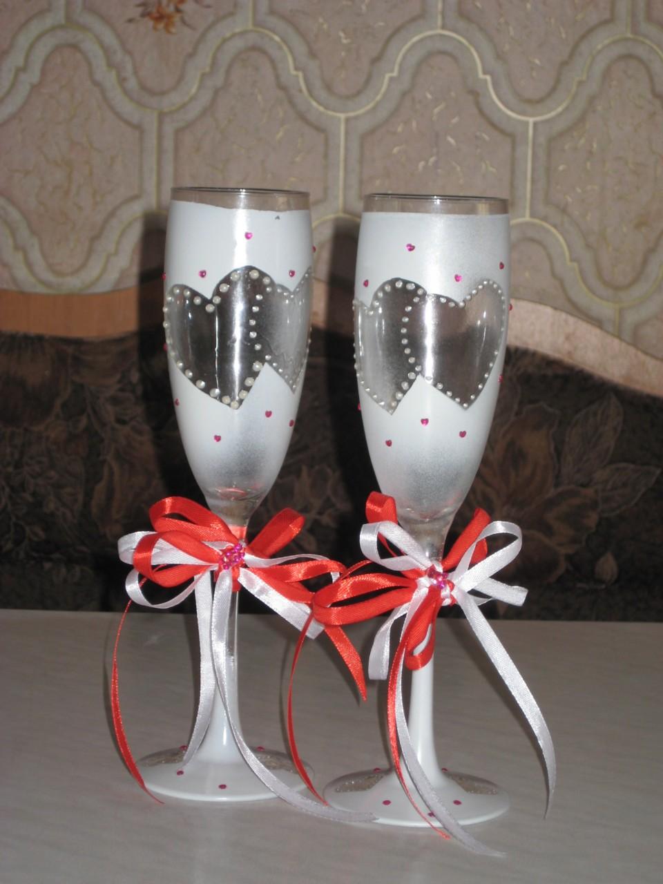 Своими руками свадебные бокалы как сделать