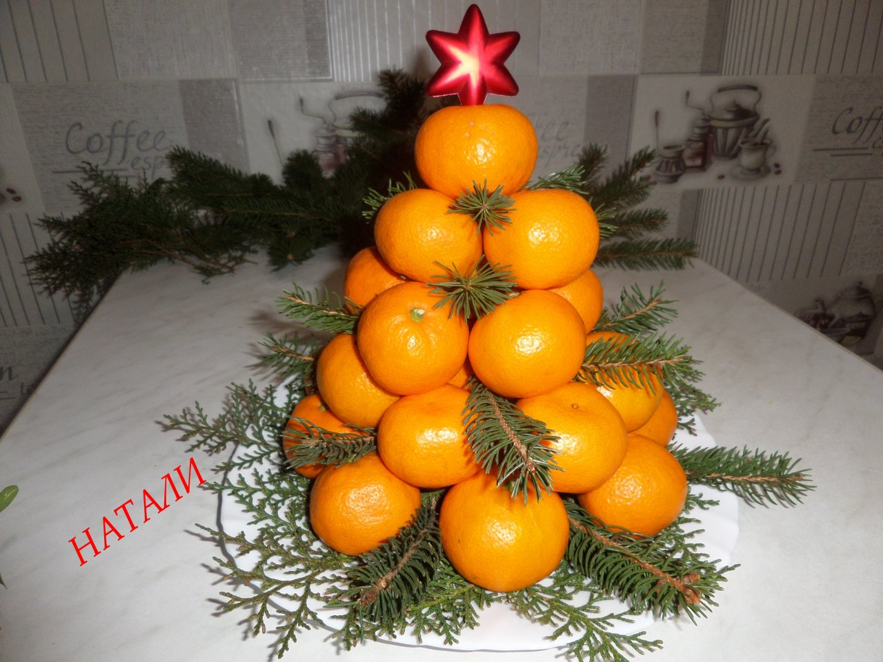 Мандариновая новогодняя елка своими руками