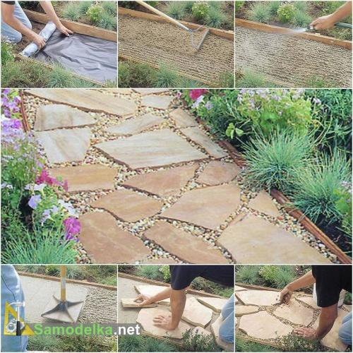 Дорожки в саду своими руками из натурального камня