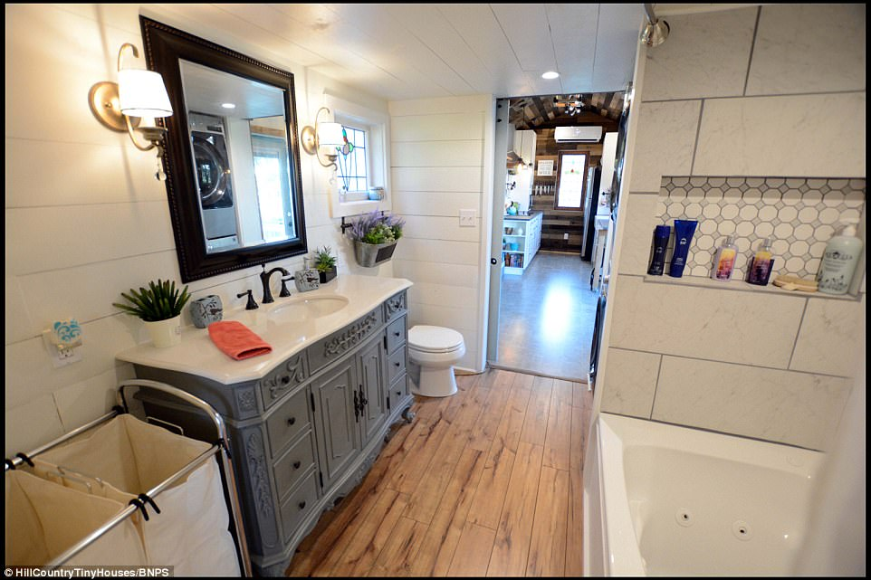 The bathroom. Speaking about the ambitious project, Shari said: 'I had been searching for a business my husband and I could do together that would utilise both our strengths when I came across the tiny house movement'
