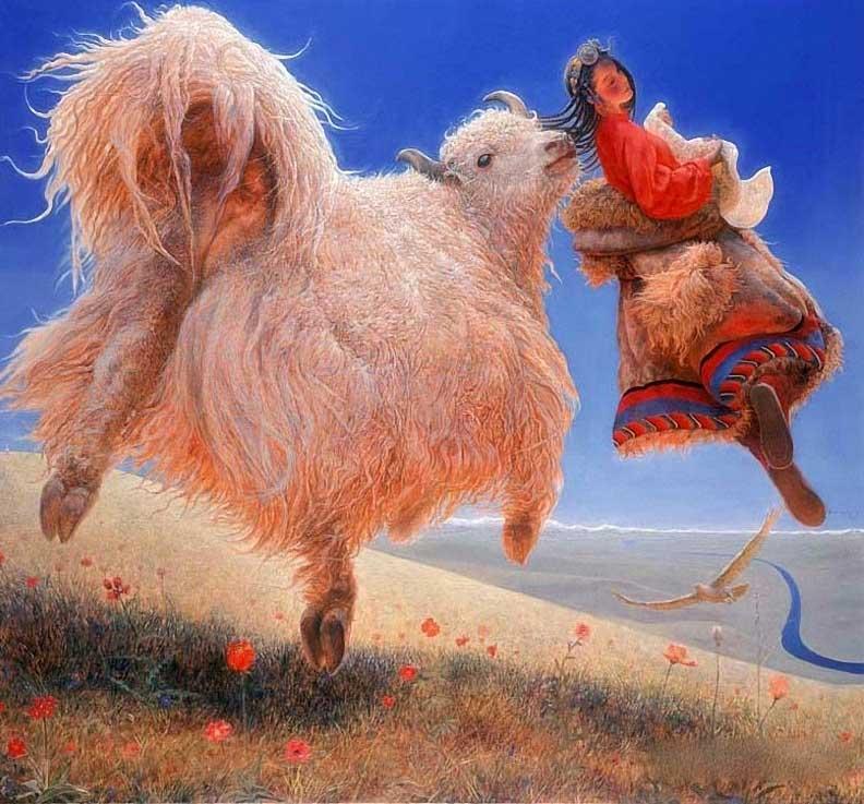 Тибет китайского художника Wang Yi Guang