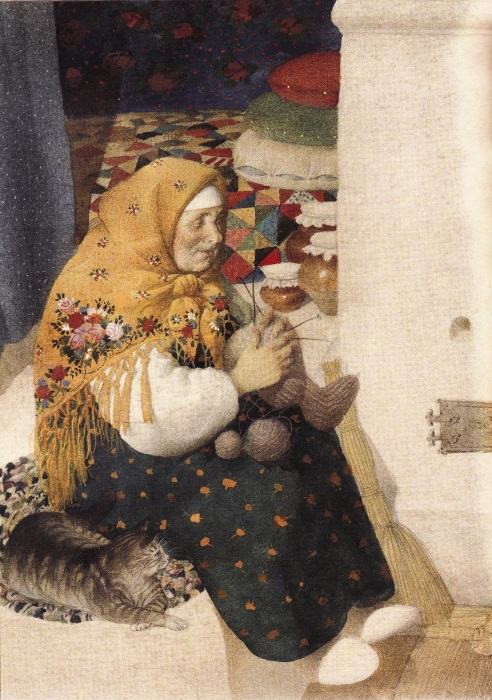 Геннадий Спирин, У печки. Печь была центром дома, его самым важным местом.