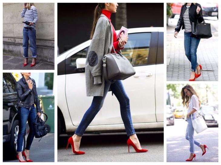 красные лодочки с джинсами