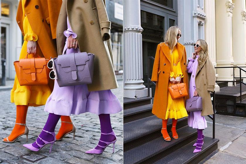 Носки с туфлями и цветные колготки с босоножками