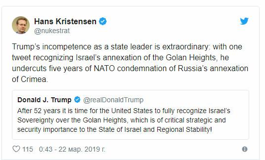 Newsweek (США): Россия воспользуется риторикой Трампа по Голанам, чтобы оправдать аннексию Крыма