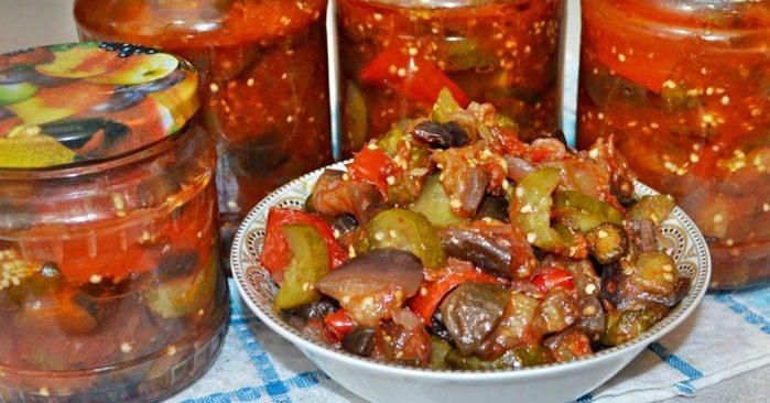 Салат из огурцов и баклажанов на зиму