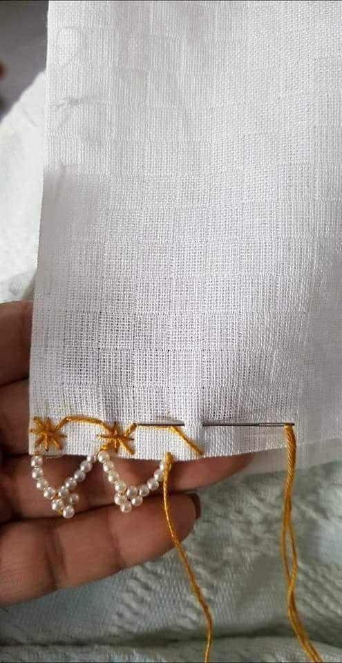Кайма из бусин и вышивки