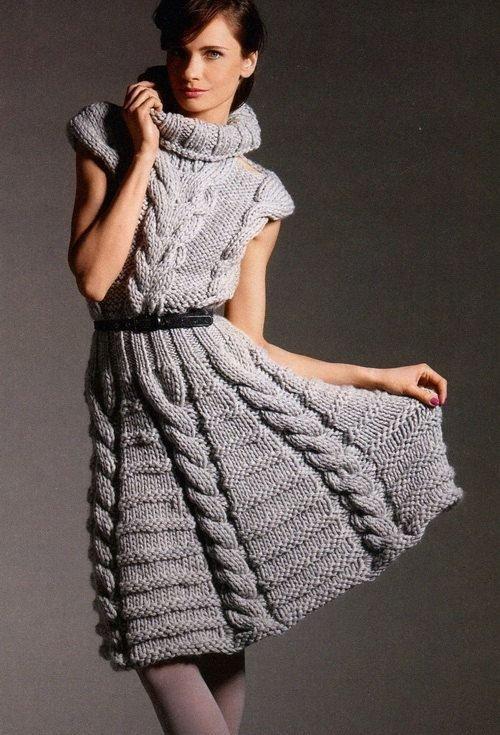 Теплые платья на осень: модная вязь.