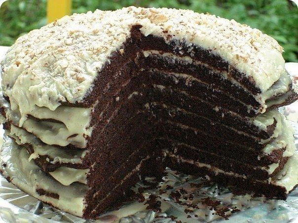 Простой и вкусный шоколадный торт на кефире «Ноченька»
