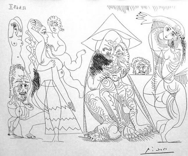 Пабло Пикассо. Три старика, три обнаженные и купидон. 1968 год