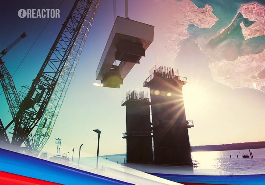 Фарватерные опоры моста через Керченский пролив набирают высоту