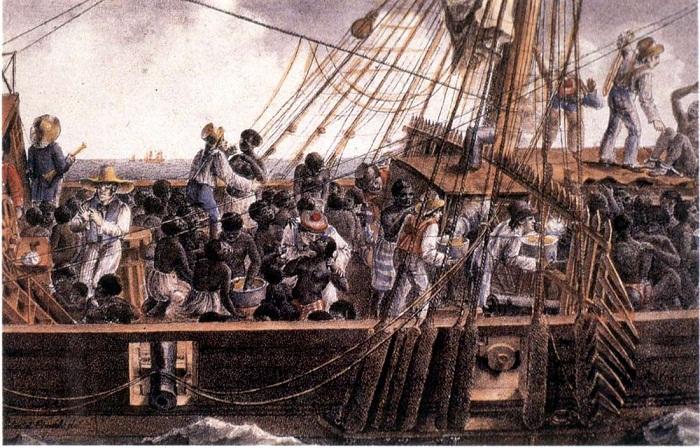На верхней палубе судна для перевозки африканских невольников (первая половина 19 века)