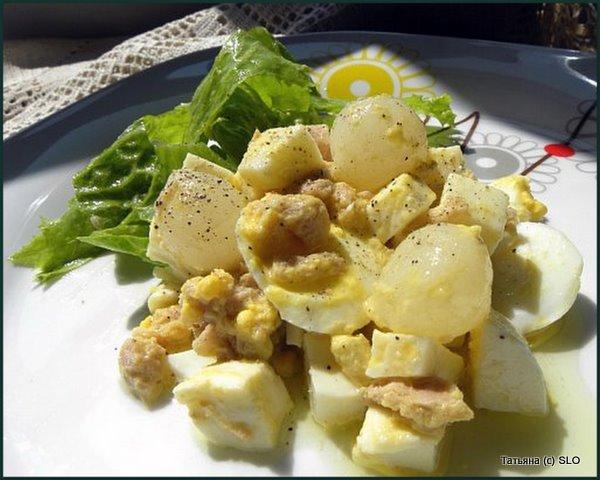 """салат  """"Простой"""" с тунцом и маринованным луком. Фото-рецепт."""