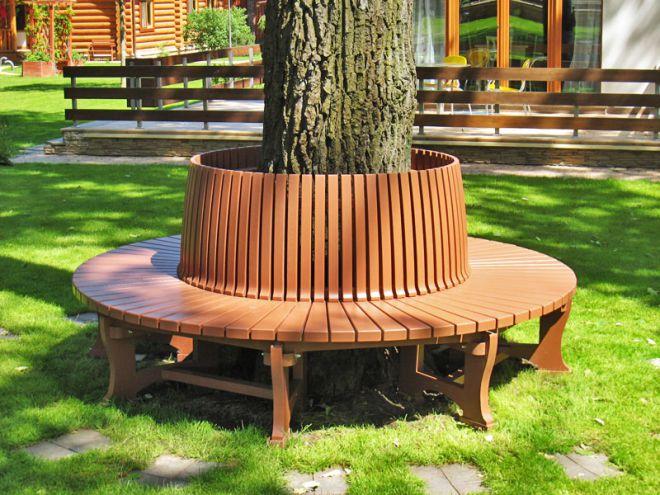 круглая скамейка вокруг дерева