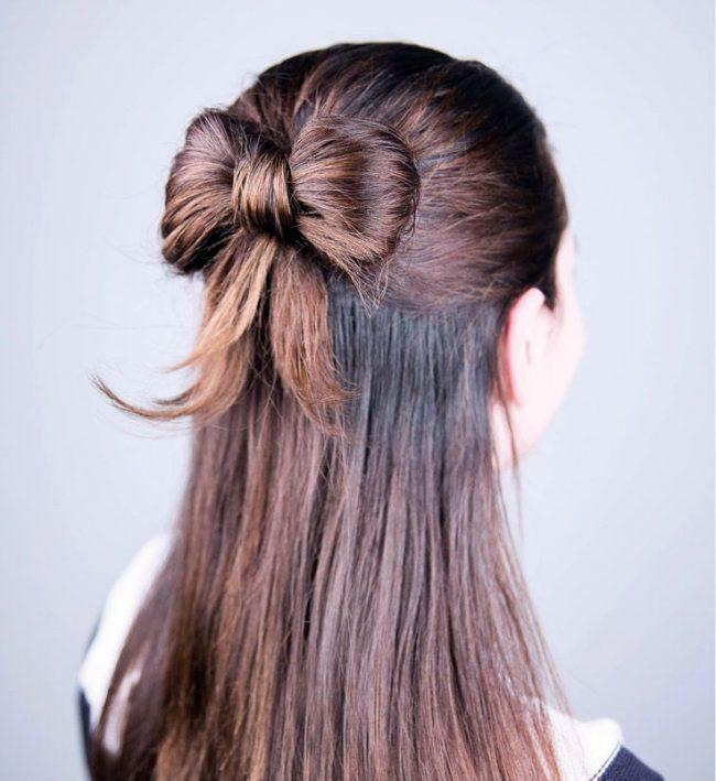 Как сделать бант на голове из волос пошаговая инструкция в картинках