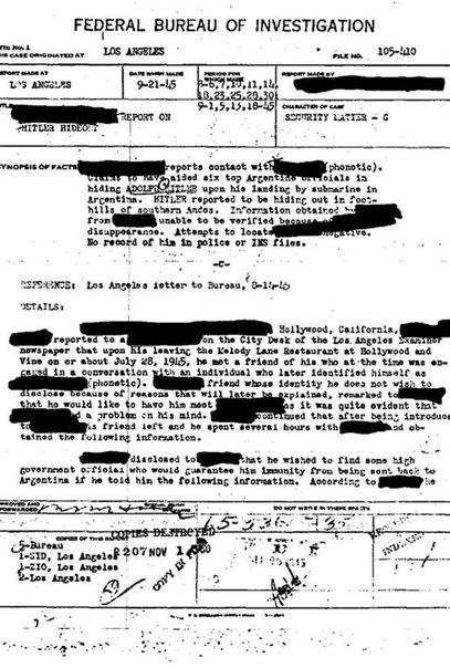 След в истории. Документы ФБР подтверждают, что Гитлер бежал в Аргентину
