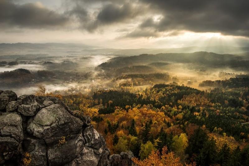 Туманная осень в Польских Судетах Польша, Судетская область, горы, красота, красота природы, национальный парк, осень, туман
