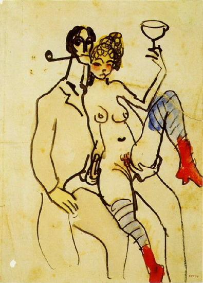 Пабло Пикассо. Анхель Фернандес де Сото с женщиной. 1902 год