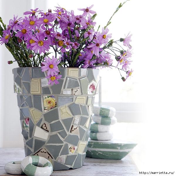 Идеи декорирования и винтажный декупаж на цветочных горшках и банках
