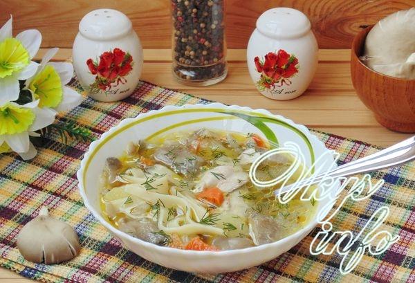 Куриный суп из вешенок с лапшой