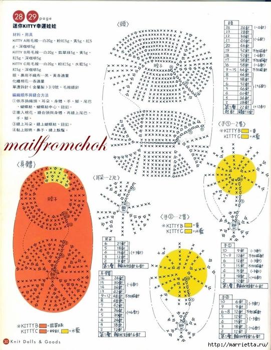 Hello Kitty! Вяжем японскую кошечку. Отличный журнал со схемами (28) (541x700, 333Kb)