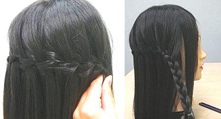 Прическа с «водопадными» французскими косами (+ пошаговые фото)