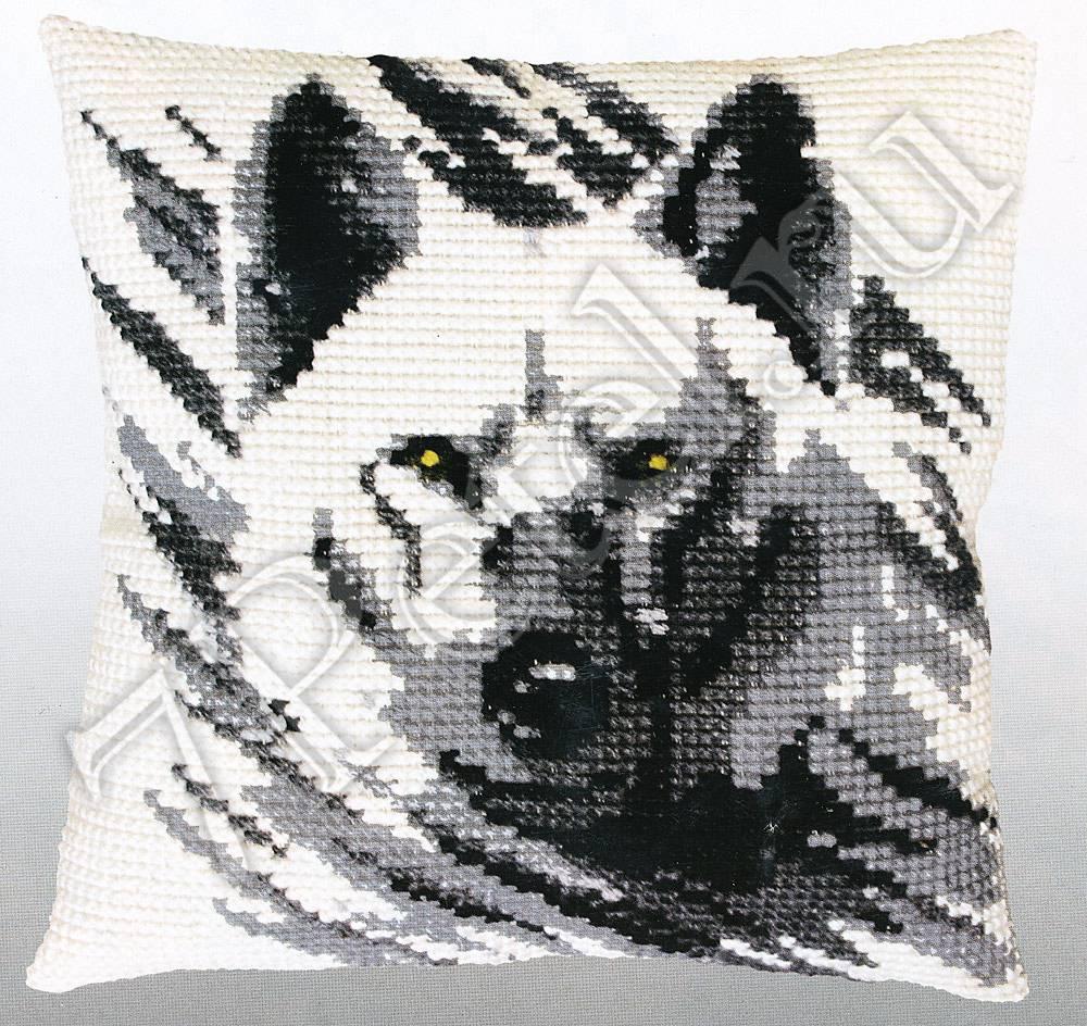 схема вышивки волка с оскалом