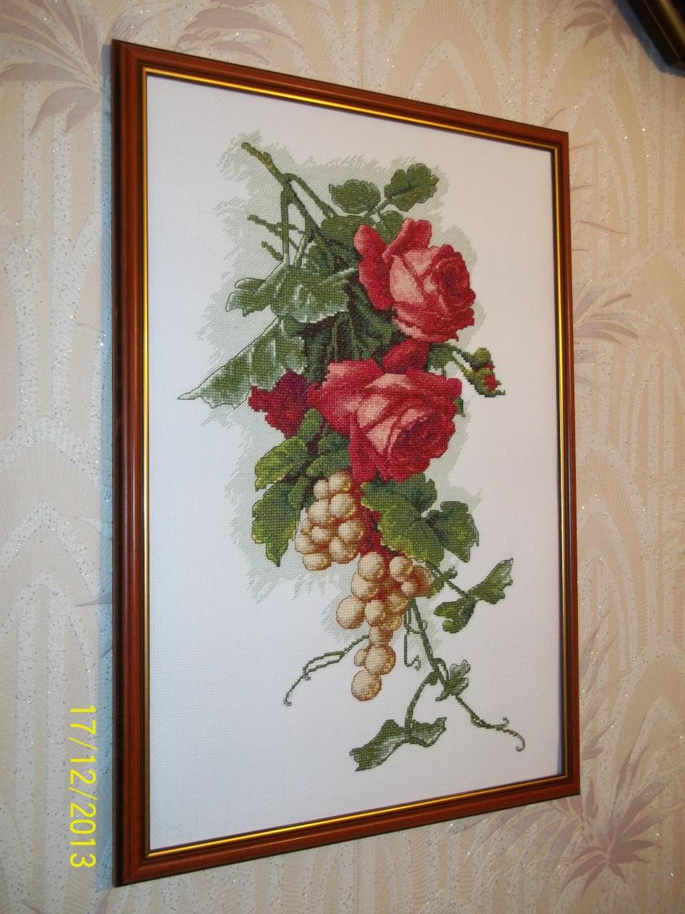 Виноград с розами вышивка 93