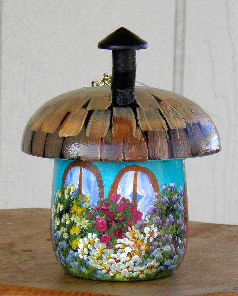 Decorative Turquoise Mushroom Birdhouse, Hand Painted with Flowers, Trees, and Welome Sign