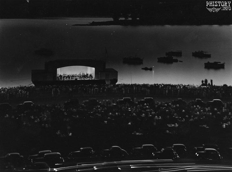 Выступление национального симфонического оркестра на реке Потомак. США. Март 1942 года история, люди, мир, фото