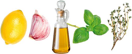 Лимонный сок + Чеснок + Оливковое масло + Базилик + Тимьян