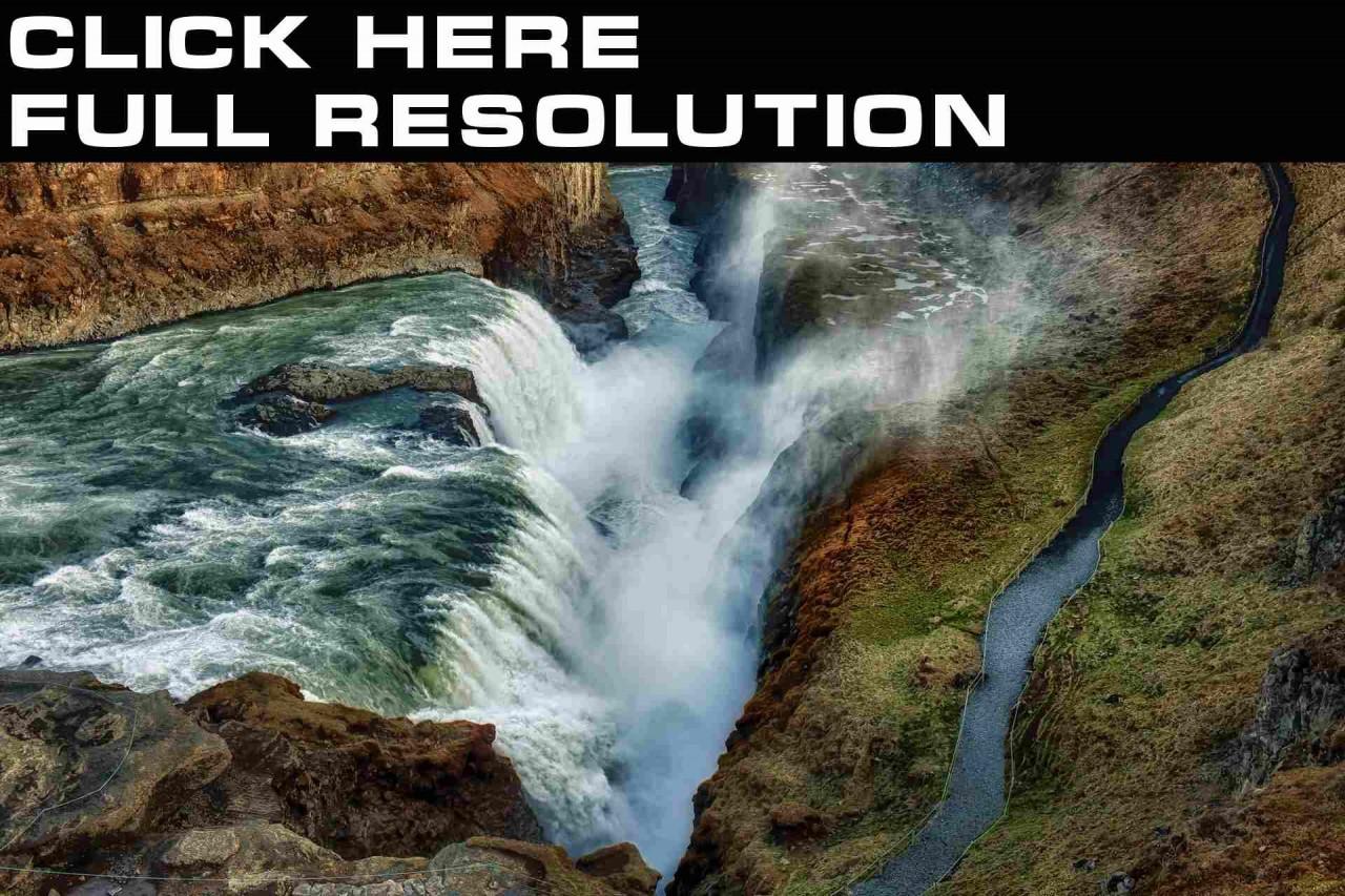 Водопады Исландия Gullfoss Природа