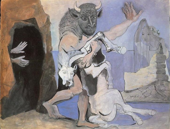 Пабло Пикассо. Минотавр убивающий кобылу перед входом в пещеру и девушка с покрывалом. 1936 год