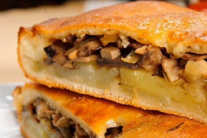 Пирог с курицей и грибами картошкой рецепт пошагово 9
