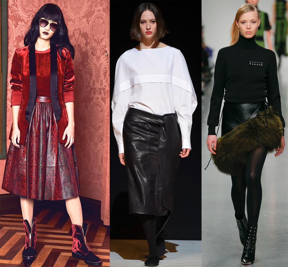 Актуальные модели кожаных юбок 2017-2018
