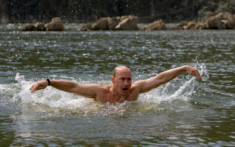Vladimir Putin in the lake, Tuva, southern Siberia, August 3, 2009.