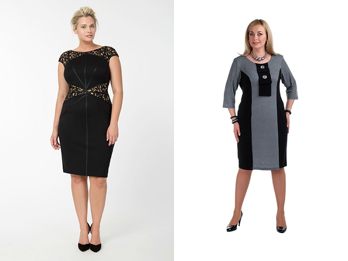 Черное платье футляр модного образа на полных женщин