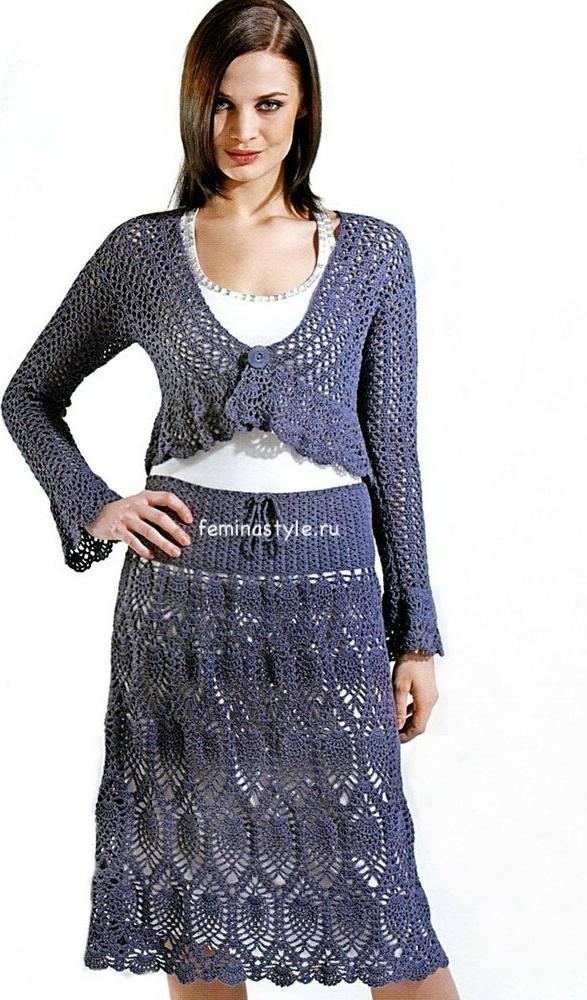 Ажурный комплект : юбка и болеро
