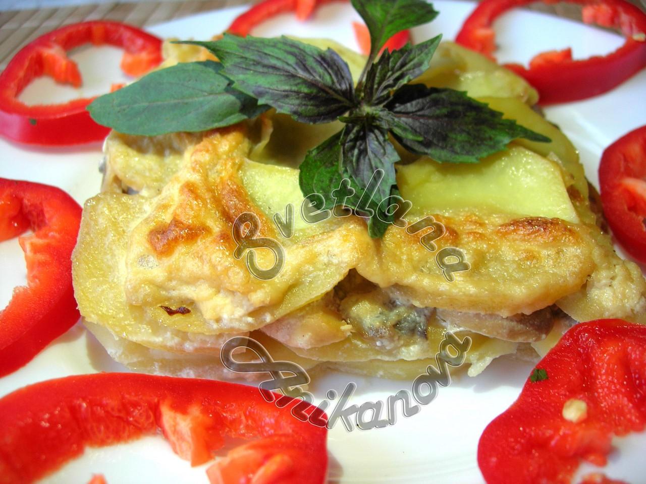 Очень нежная картофельная запеканка с грибами в сливках
