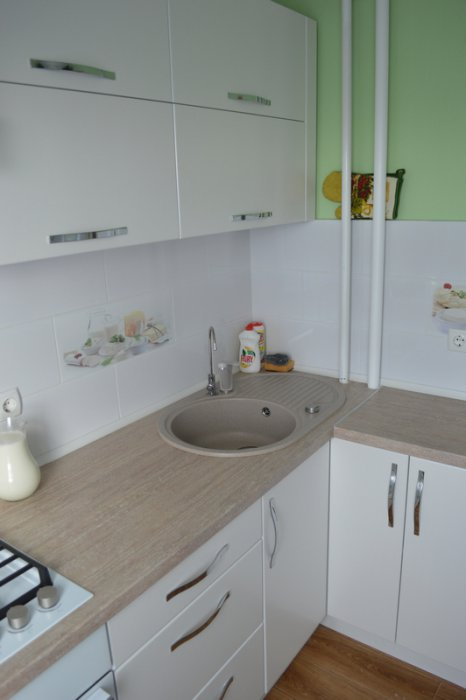 Кухня-яблочко 7,5 кв м