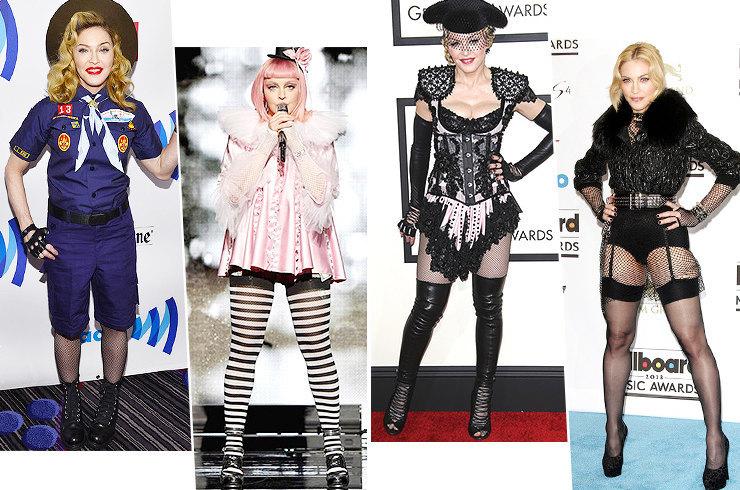 Изолента на сосках и трусы с сапогами: 10 безумных образов Мадонны