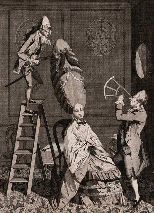 Смехотворные моды, или Абсурд, до которого доходят дамы. Английская карикатура. 1771 год