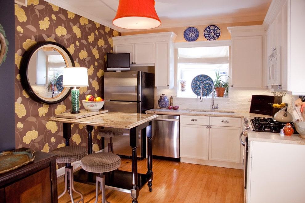 Обои для кухни: современные новинки, варианты сочетаний и нюансы оформления в фотогалерее красивых интерьеров
