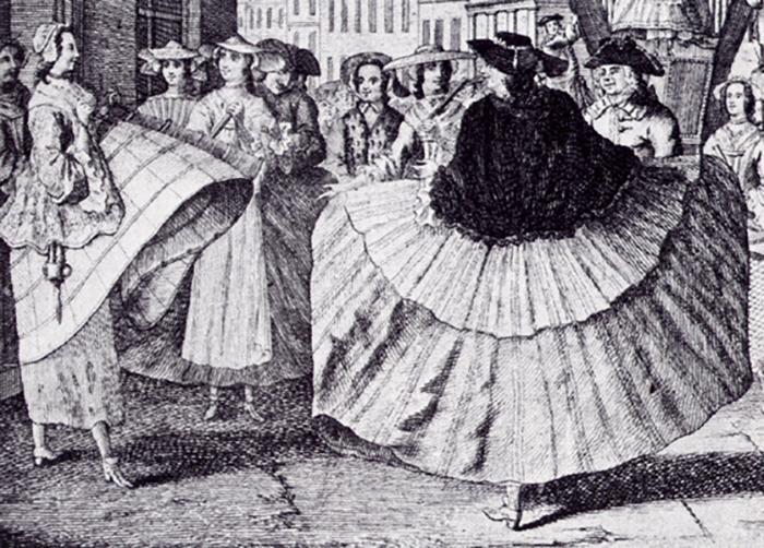 Карикатура на фижмы. 1748 год